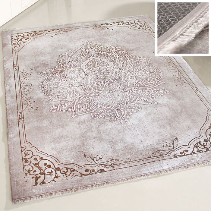 Teppich Waschbar Beige | Modernes Medaillon Design | MY1100J Majestik-1100-Beige Outdoor