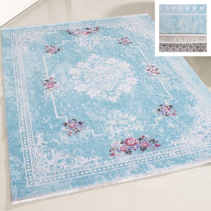 Teppich Waschbar Türkis | Shabby Chic Design Medaillon | MY1300T Majestik-1300-Türkis Used Look Teppiche