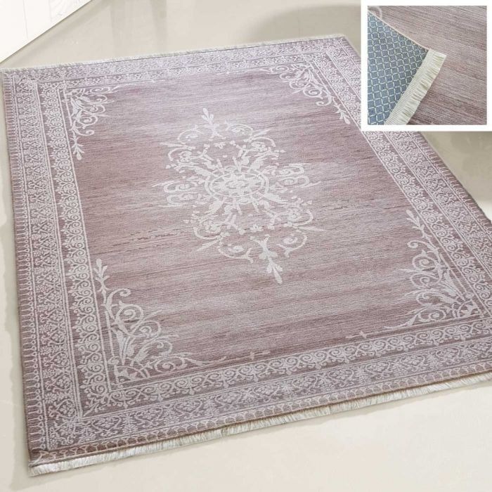 Teppich Waschbar Braun | Medaillon in Bordüre Style | MY2000V Majestik-2000-Brown Skandinavische Teppiche