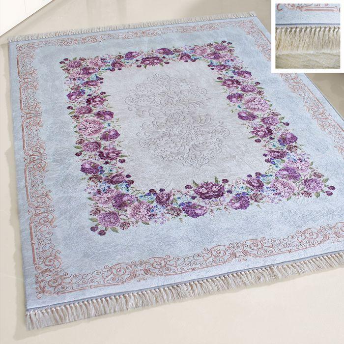 Waschbarer Teppich Türkis | Moderne Blumen Umrandung | MY2410 Caimaz-2410 Outdoor