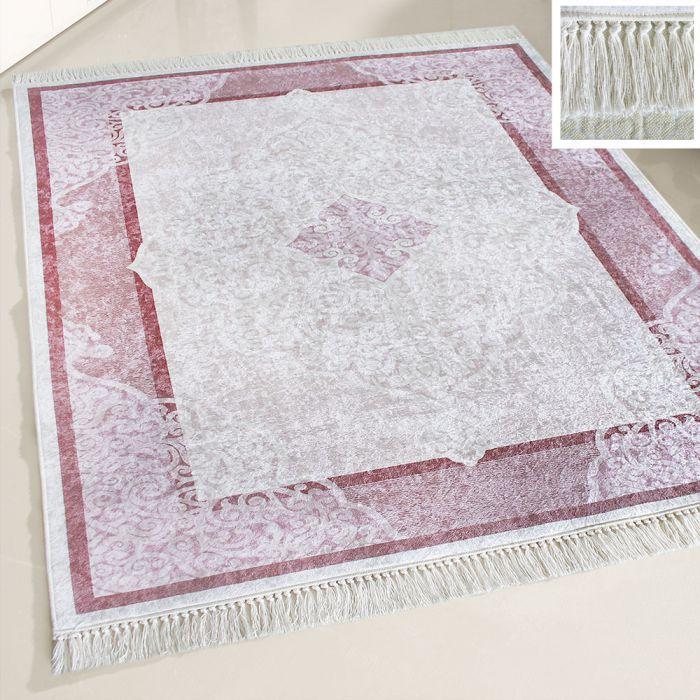 Waschbarer Teppich Lila Rosa | Moderne Bordüre Umrandung | MY2511 Caimaz-2511 Outdoor