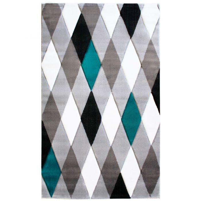 Teppich Kurzflor Pastell Türkis | Designer Kariert | MY307A Lena-307-Aqua Skandinavische Teppiche