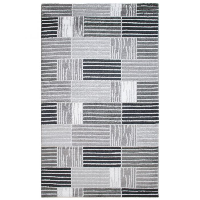 Teppich Kurzflor Grau Weiss | Modern Kariertes Design | MY315G Lena-315-Grau Teppiche in Weiß