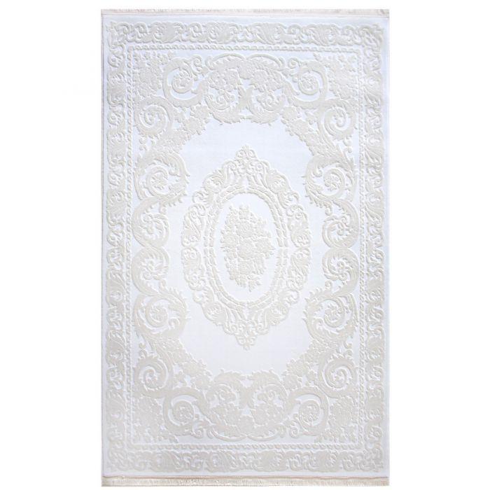 Designer Teppich Weiss | 3D Medaillon Muster MYP4204R ArtPrem-4204-Cream Alle Artikel