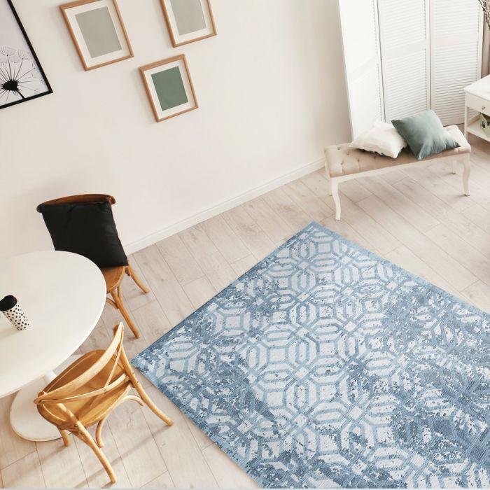 Kurzflor Teppiche Antibakteriell Baumwolle Teppich Waschbar | Modern Geo Eis Blau | MY6931