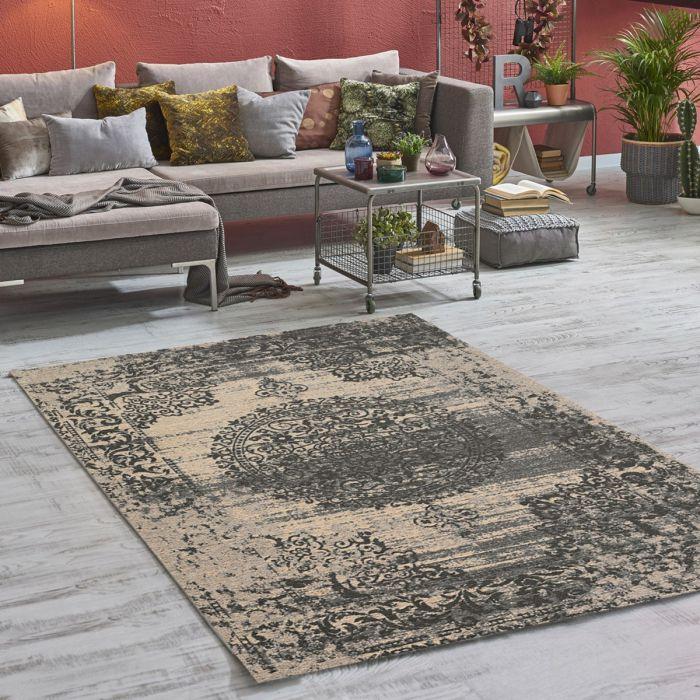 Kurzflorteppich mit Baumwolle | Barock Antik Grau | MY6940 CARINA 6940 Aktuelle Trends Waschbare Teppiche