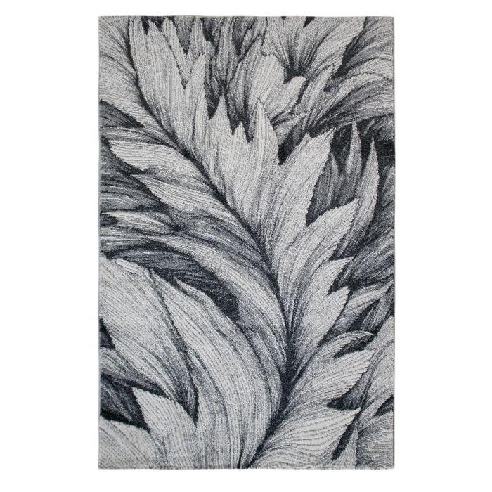 Teppich Kurzflor Grau Weiss | Designer Feder Muster MY7610 Tuana-7610-Grey Skandinavische Teppiche