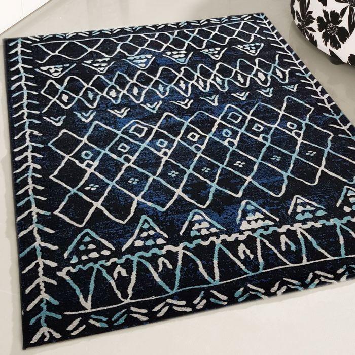 Teppich Kurzflor Schwarz Weiss | VIntage Boho Hot Style | MY7796S Rustik-7796-Black Schlafzimmer