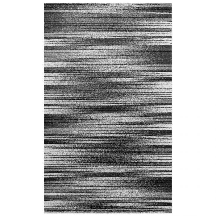 Kurzflor Teppich Schwarz Weiss | Linien Meliertes Muster MY7890 Marmaris-7890 Küche