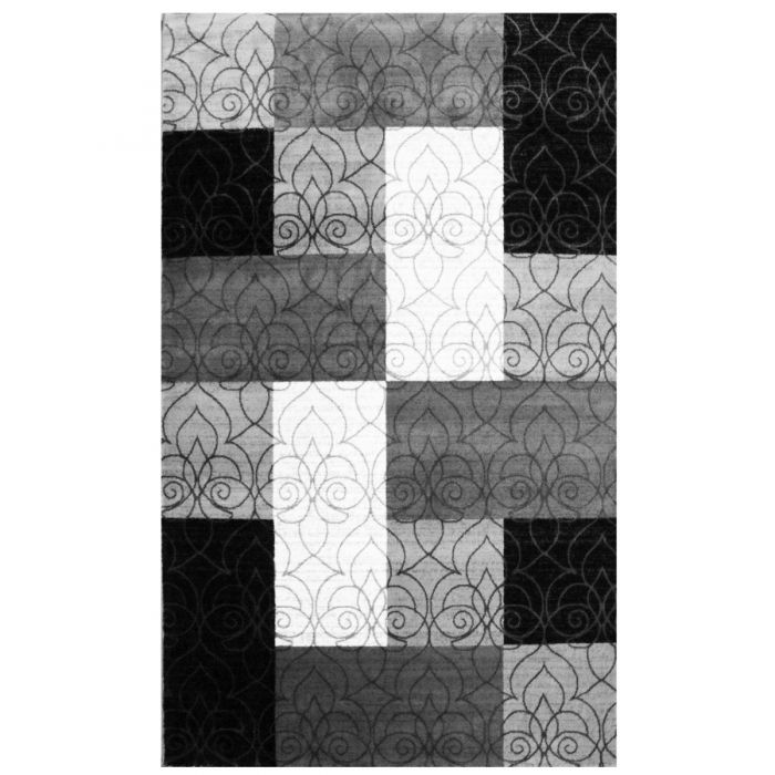 Kurzflor Teppich Schwarz Grau Weiss | Kachel Optik Modern MY7970 Marmaris-7970 Teppiche in Grau