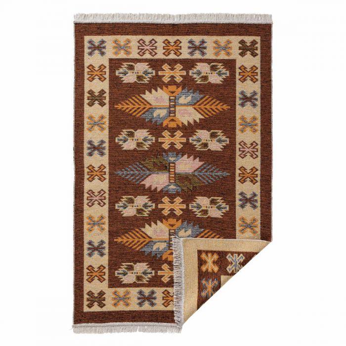 Kurzflor Teppiche Antibakteriell Waschbarer Wendeteppich aus recycelter Baumwolle im Vintage Kilim | MY9910O