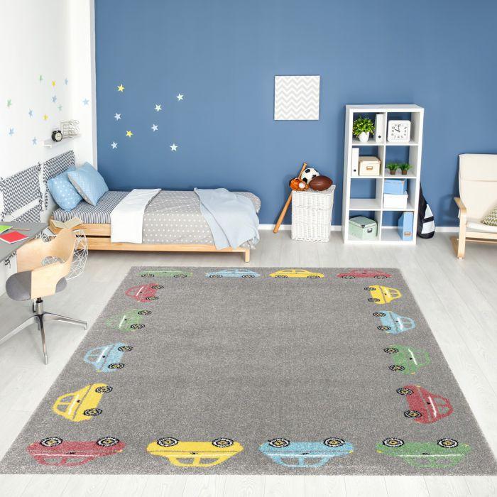 Kurzflor Kinder Teppich grau Motiv Autos Kinderzimmerteppich Spielteppich Bambica C.006       Alle Artikel