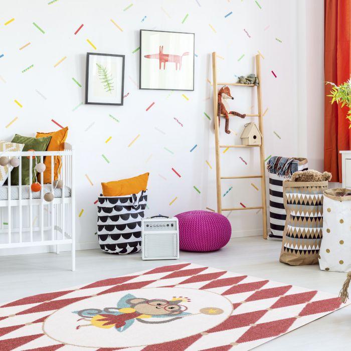 Kurzflor Kinder Teppich cream Motiv Affe Raute Kinderzimmerteppich Spielteppich Bambica C.007 Alle Artikel