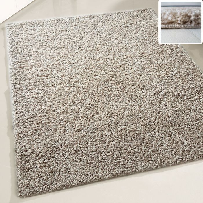 30 mm | Shaggy Hochflor Teppich Beige | Einfarbig Uni MY380 MyShaggy-380-Beige Schlafzimmer