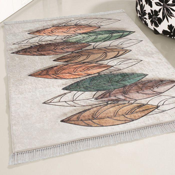 Waschbarer Teppich Feder Motiv | Pastel Tropenmuster | MY2950 CAIMAS-2950 Kinderteppiche