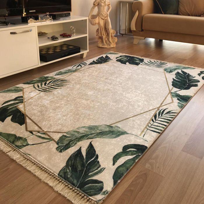 Waschbarer Teppich in Creme Grün Gold | MY5000 CAIMAS-5000 Aktuelle Trends Waschbare Teppiche