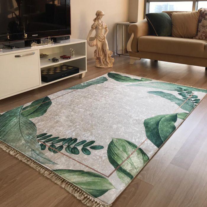 Waschbarer Teppich in Creme Grün Gold | MY5200 CAIMAS-5200 Aktuelle Trends Waschbare Teppiche