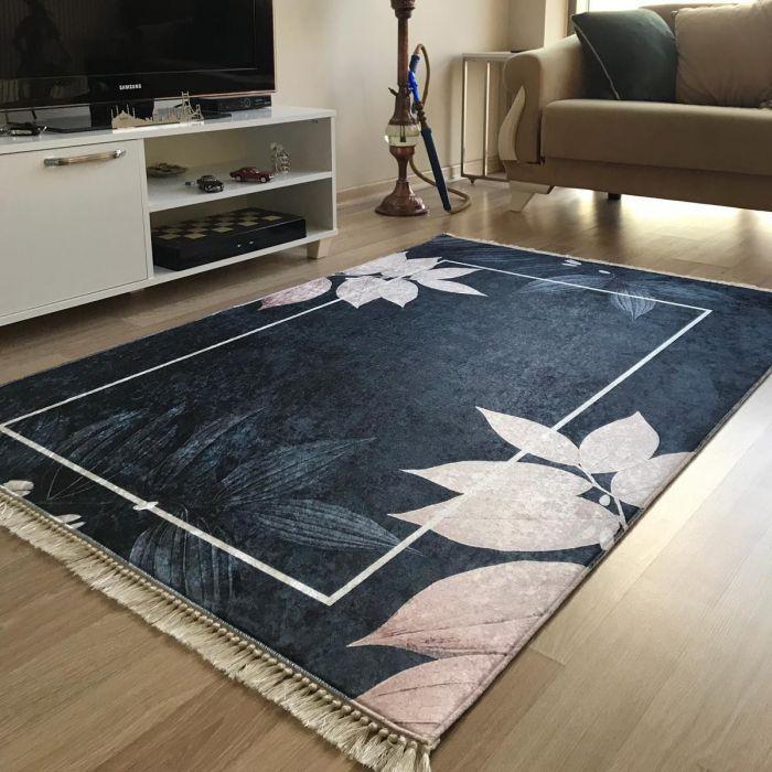 Waschbarer Teppich in Schwarz Rosa Gold | MY5600 CAIMAS-5600 Aktuelle Trends Waschbare Teppiche