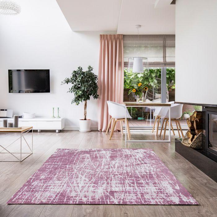 Kurzflorteppich mit Baumwolle | Young Pattern Rosa | MY6922 CARINA 6922 Teppich aus Baumwolle