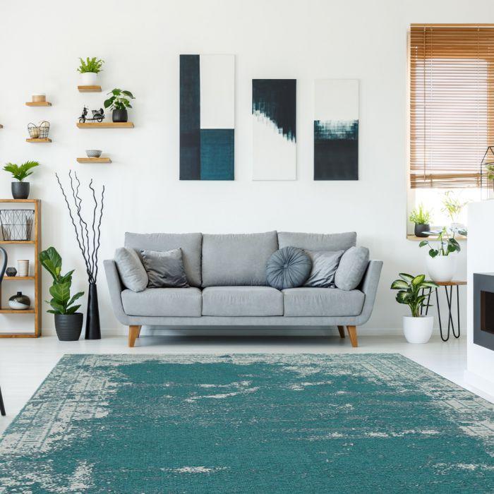 Kurzflorteppich mit Baumwolle | Indigo Aztek Grün Blau | MY6911 CARINA 6911 Aktuelle Trends 1