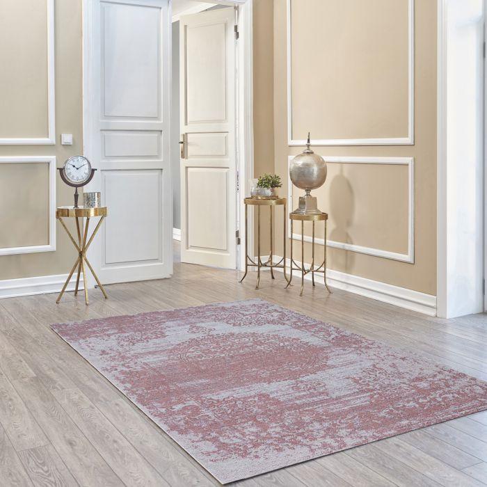 Kurzflorteppich mit Baumwolle | Barock Antik Rosa | MY6941 CARINA 6941 Teppich aus Baumwolle