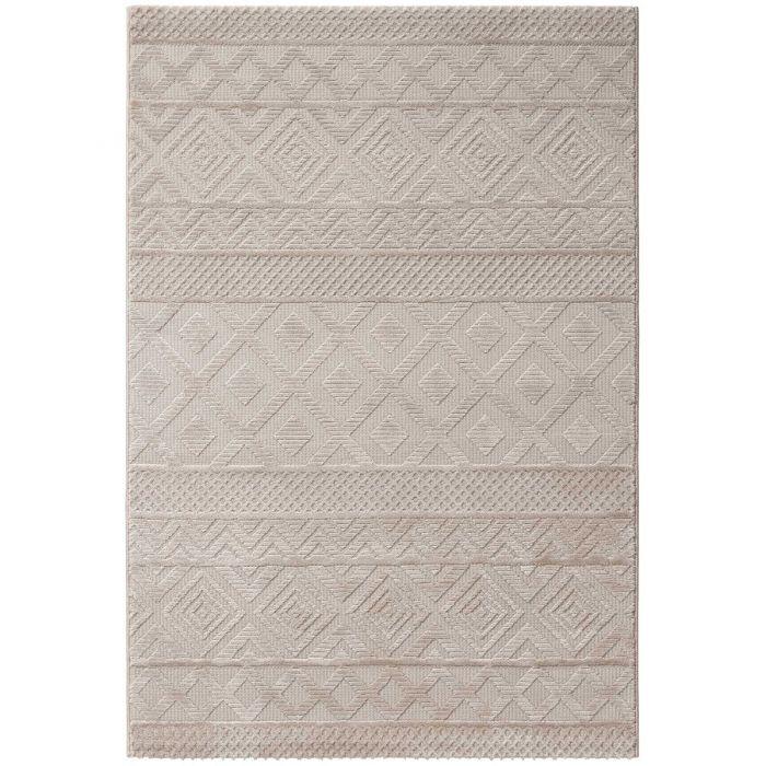 Designer Teppich 3D Skandi Pattern in Beige| MY6100J Luxury-6100-beige Vintage Patchwork Muster