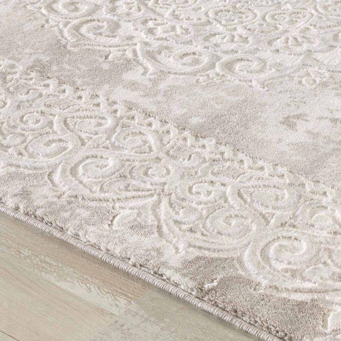 Aktuelle Trends Inspirieren Designer Teppich in Beige mit Medaillon | Ornament Bordüre MY3205
