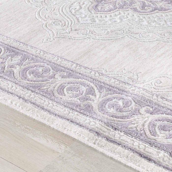 Abstrakte Muster Designer Teppich in Pastel Lila mit Vintage Medaillon | Bordüre MY3201