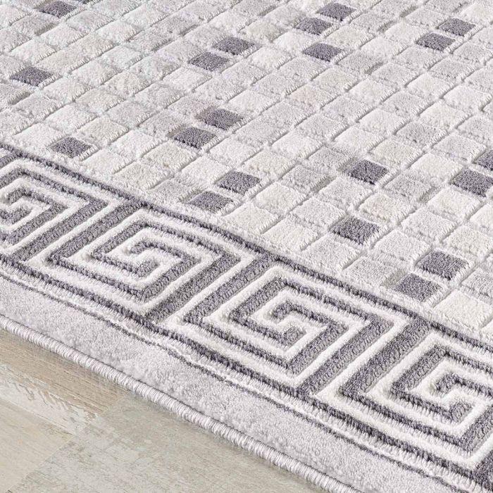 Moderner Teppich in Grau mit Mozaik Muster | Design Bordüre MY3207 HAR-3207-Grau Geometrische Muster