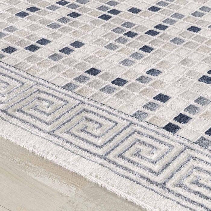 Aktuelle Trends - Aktuelle Angebote Moderner Teppich in Navy Blau mit Mozaik Muster | Design Bordüre MY3207