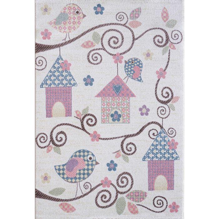 Kinderzimmer Teppich Bunt | Vogelmotiven für Jungs | Mädchen Nr.4602 LunaK-4602-cream für Kinder