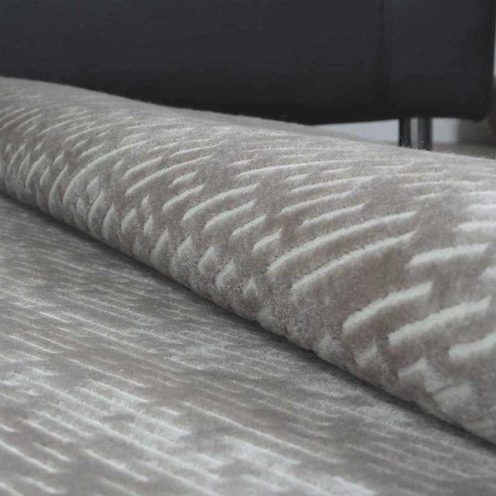 Acryl Wohnzimmerteppich Grau | Hochwertig mit Konturstruktur | MY1860S Inkamors-1860-grau Gestreifte Muster