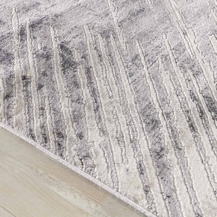 Abstrakte Muster Kurzflor Teppich in Grau mit melierten Linien MY3208