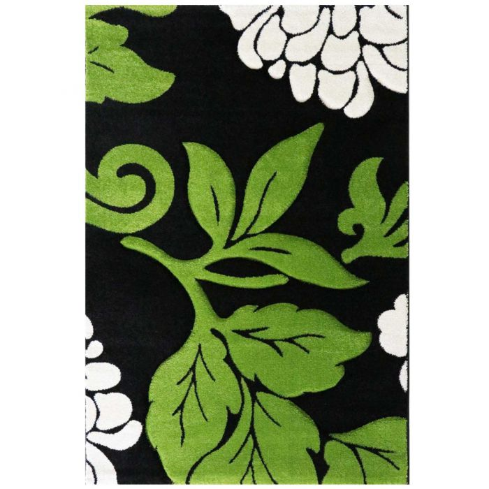Kurzflor Wohnzimmerteppich Grün | gecarvte florale Muster | MY906G Florida-906-Grün Blumenmuster