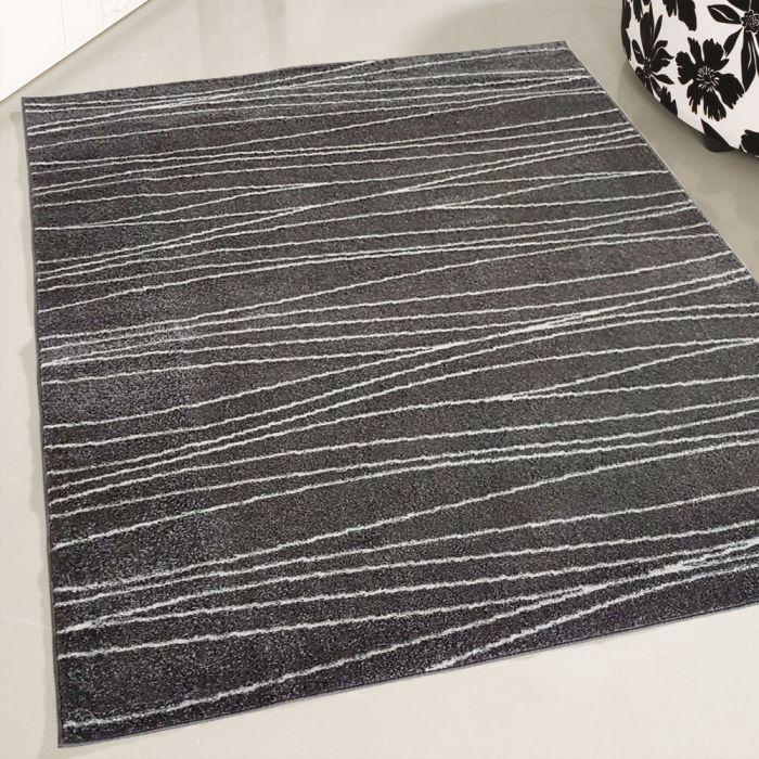 Valetntinstag Kurzflor Teppich in Grau Weiss   geometrischer Linien Design   MY1850S