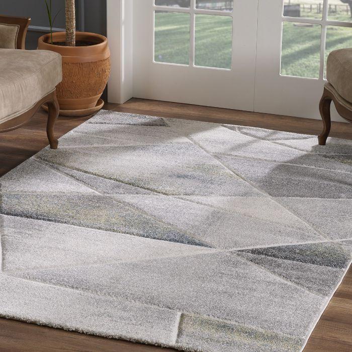 Moderner Kurzflor Teppich Grau Grün geometrisches Design | 2901 Sanat-LORENA_2901 Aktuelle Trends Inspirieren