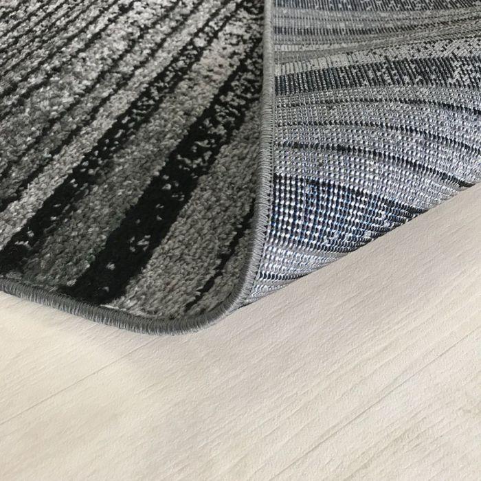 Kurzflor Teppich Grau Schwarz | Trendig Liniert MY1760 Medusa-1760-Black Teppich Wohnzimmer