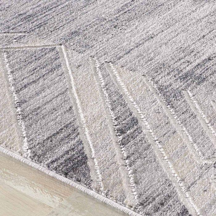 Kurzflor Teppich in Grau mit Melierung | geometrischer Bordüre MY3209 HAR-3209-Grau Geometrische Muster