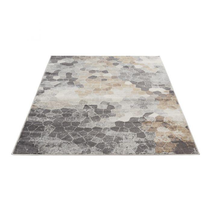 Moderner Kurzflor Teppich Beige | Mozaik Steinmuster | MY3712V Montana 3712 brown Vintage Patchwork Muster