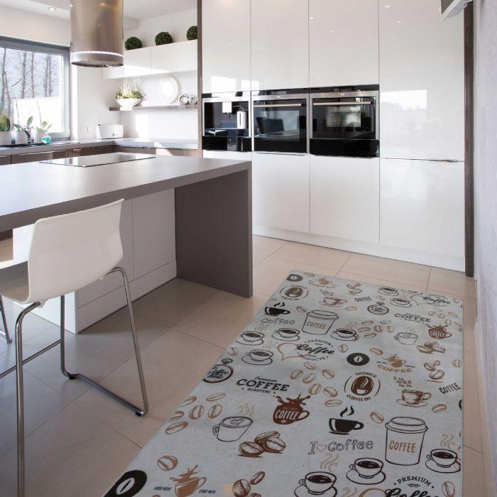 Waschbarer Küchenteppich | Kaffee Muster Braun | MY2200 Caimaz-2200 MYNES HOME