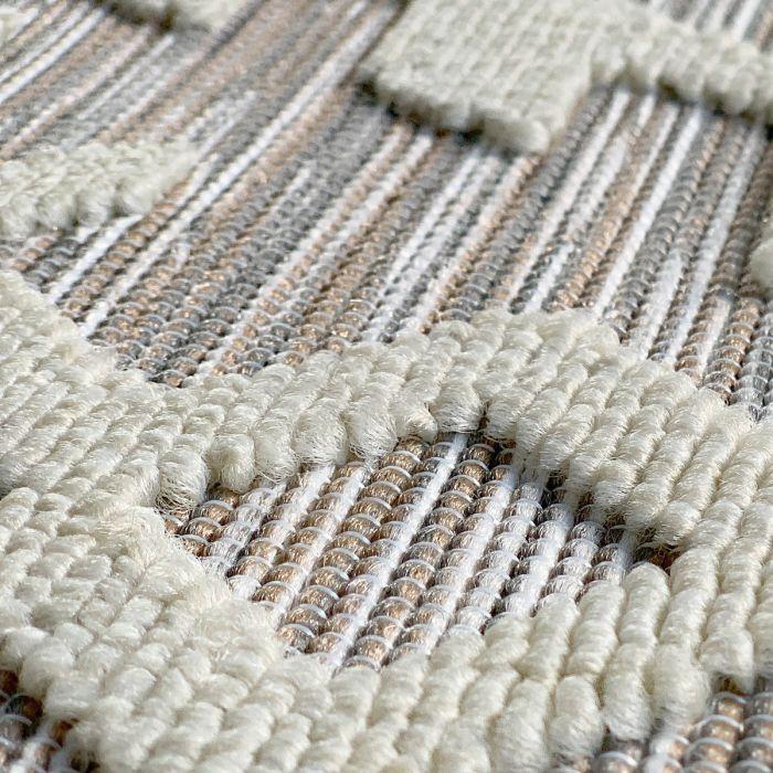 Outdoorteppich in Natur Creme mit 3D Struktur | Innen | | und Außenbereich geeignet | MY3410 Road-3410 Abstrakte Muster