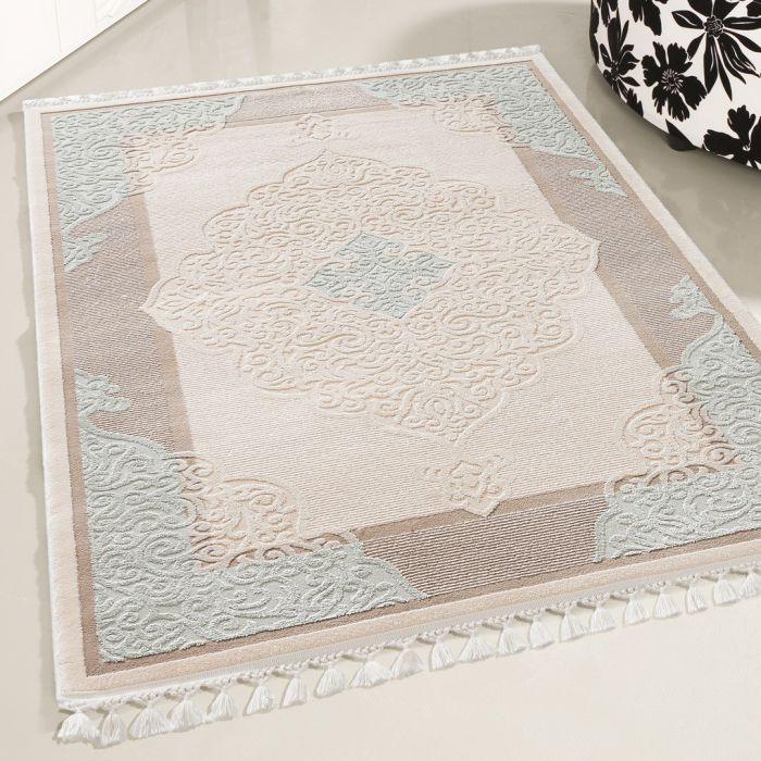 Moderner Designer Teppich Acryl in Beige Blau | 6827 SANAT DELÜKS_6827 Vintage Teppiche