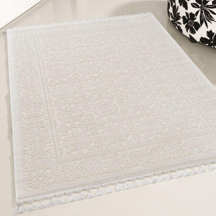 Vintage Teppiche Moderner Designer Teppich Acryl in Weiß | 6894