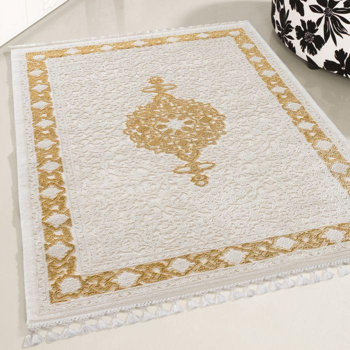 Moderner Designer Teppich Acryl in Weiß Gelb Ocker | 6976 SANAT-DELÜKS_6976 Vintage Teppiche