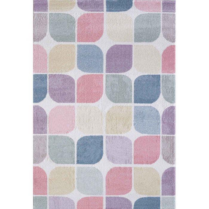 Kinderzimmer Teppich Bunt | Geometrische Muster für Jungs | Mädchen Nr.4608 LunaK-4608-cream Teppiche in Bunt