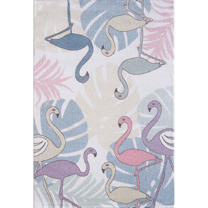 Kinderzimmer Teppich Bunt | Tiere Palmen Muster für Jungs | Mädchen Nr.4609 LunaK-4609-cream Teppiche in Bunt