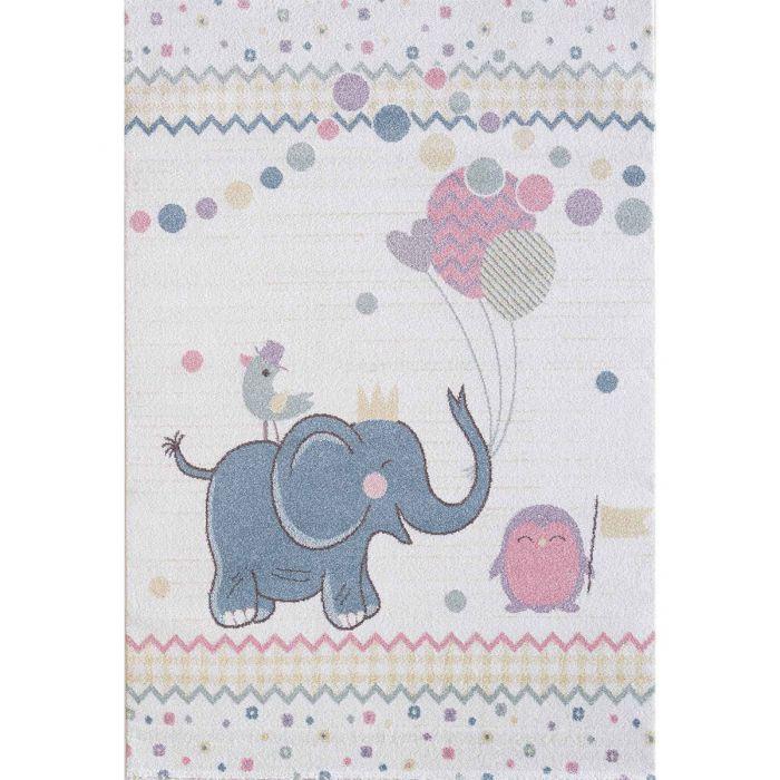 Kinderzimmer Teppich Bunt | Elefant Ballon Muster für Jungs | Mädchen Nr.4611 LunaK-4611-cream Teppiche in Bunt