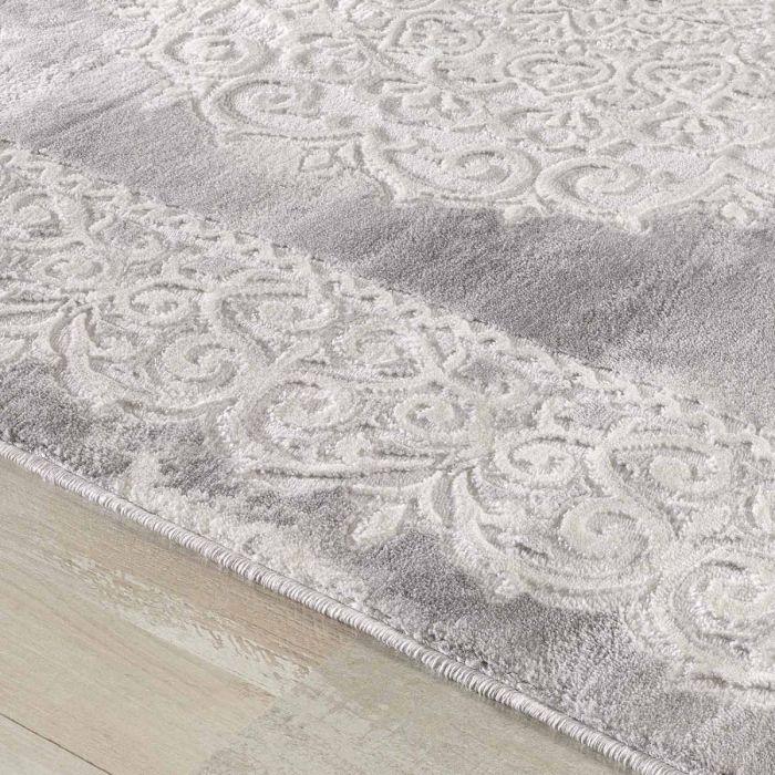 Abstrakte Muster Designer Teppich in Grau mit Medaillon | Ornament Bordüre MY3205
