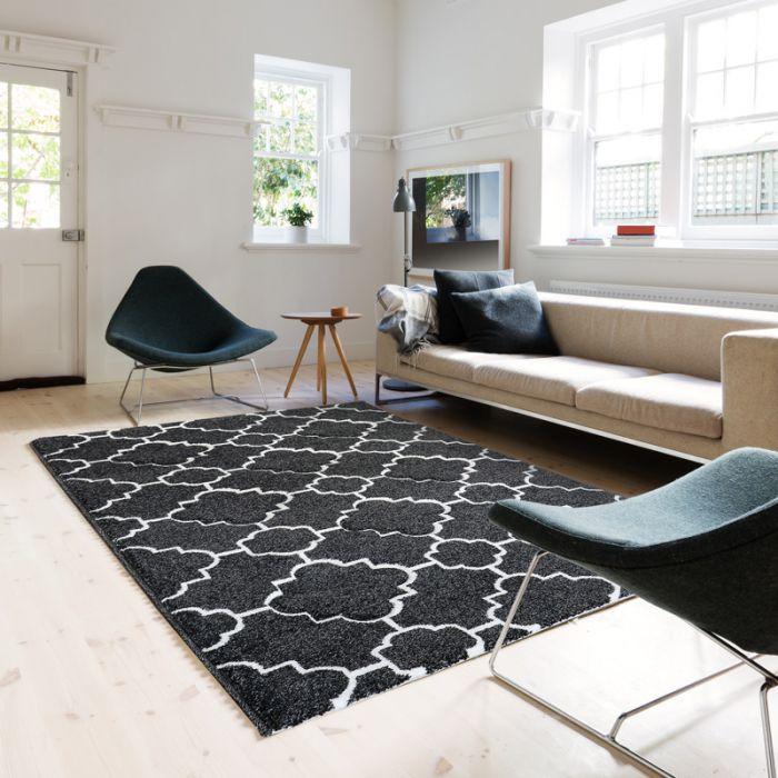 Aktuelle Trends Inspirieren Teppich Wohnzimmer Modern Schwarz Weiss | Marokkanisches Kurzflor Design MY7410