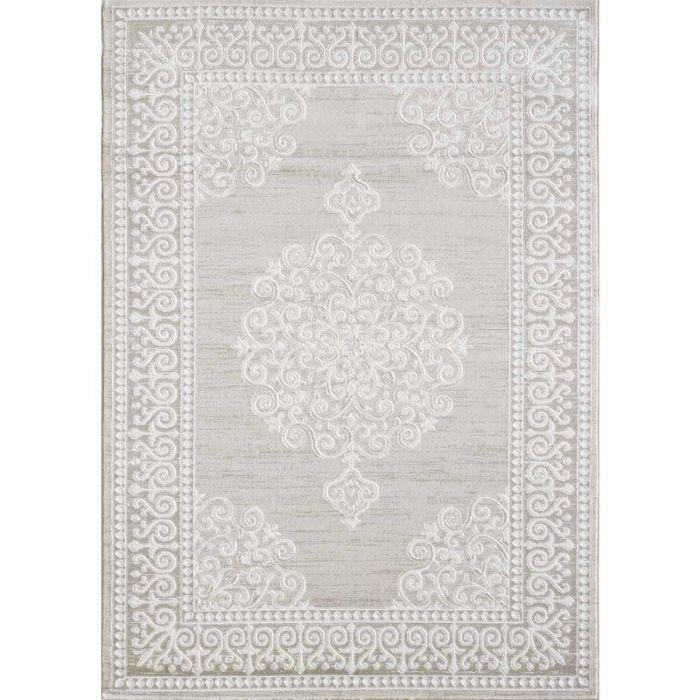 Vintage Patchwork Muster Designer Teppich in Beige mit Spitz Medaillon | Ornament Bordüre MY3204
